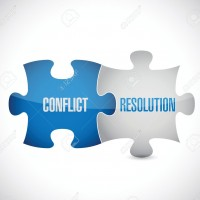 conflict resolution puzzle pieces illustration design over a white background