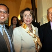 United States House leader Nancy Pelosi, center, and Democratic Rep. Keith Ellison stand with Israel's Deputy Premier and Nobel Laureate Shimon Peres prior to their dinner at a restaurant in Jaffa, near Tel Aviv, Israel, Saturday, March 31, 2007. Earlier in the day Pelosi, the leader of the U.S. House of Representatives toured Jerusalem holy sites , along with a congressional delegation that included Democratic Rep. Keith Ellison, the first Muslim elected to Congress. The tour came on the delegation's first full day in Jerusalem, the first stop on their fact-finding trip to the Middle East. (AP Photo)