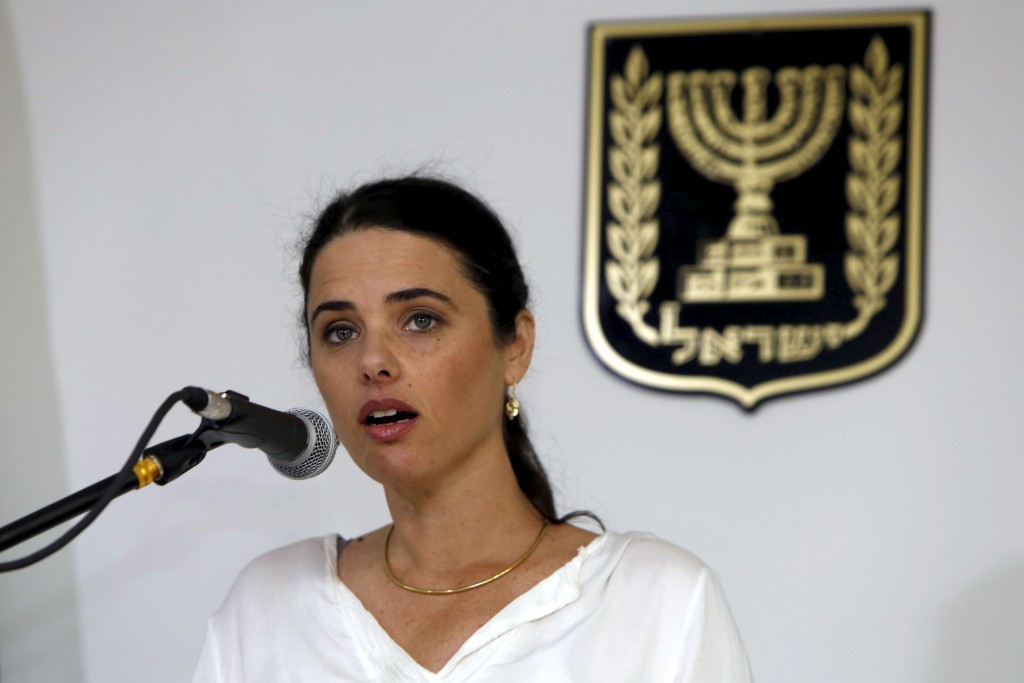 Ayelet Shaked, Israel's new Justice Minister of the far-right Jewish Home party, speaks during a ceremony at the Justice Ministry in Jerusalem May 17, 2015. Shaked said on Sunday she would seek a new balance that would rein in the powers of the Supreme Court over parliament and the government, a policy critics fear would restrict judicial oversight. REUTERS/Gali Tibbon/Pool